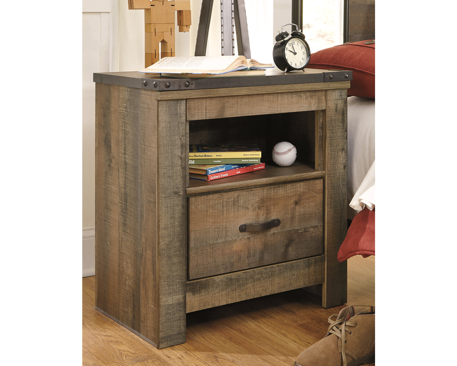 Signature Design By Ashley Trinell Brown One Drawer Nightstand Walmart Com
