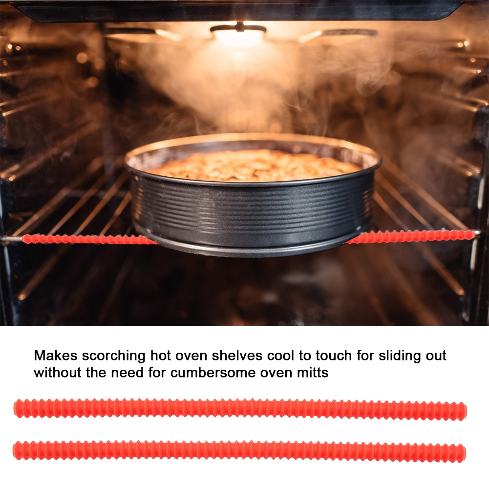 otviap 2pcs heat insulated silicone clips hot oven rack shelf guards avoid scald protector tool oven shelf guards silicone oven rack