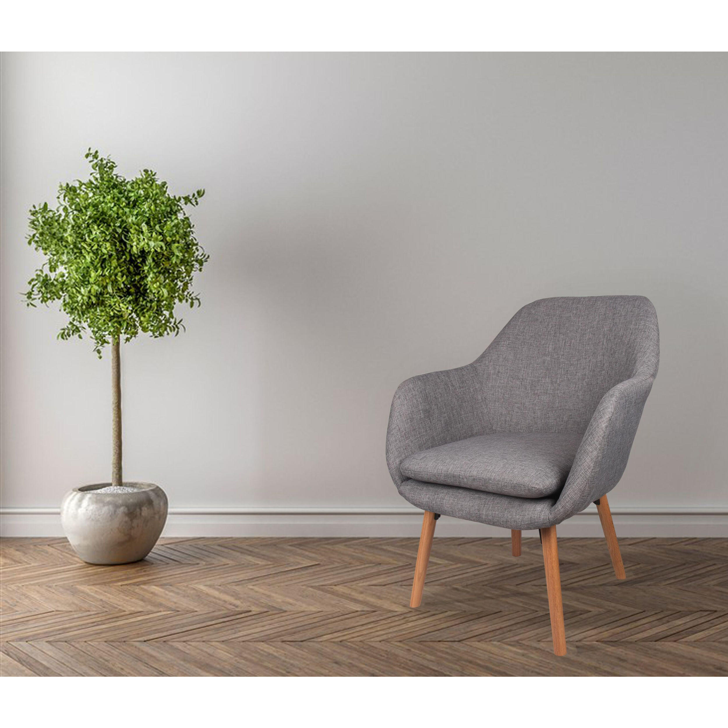 Moustache Accent Chairs Living Room Chair Modern Fabric Sofa Arm Chair Armchair With Cushion Seat Beech Wood Legs Gray Walmart Canada