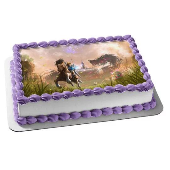 The Legend Of Zelda Breath Of The Wild Edible Cake Topper Image Abpid27225 1 4 Sheet Walmart Com Walmart Com