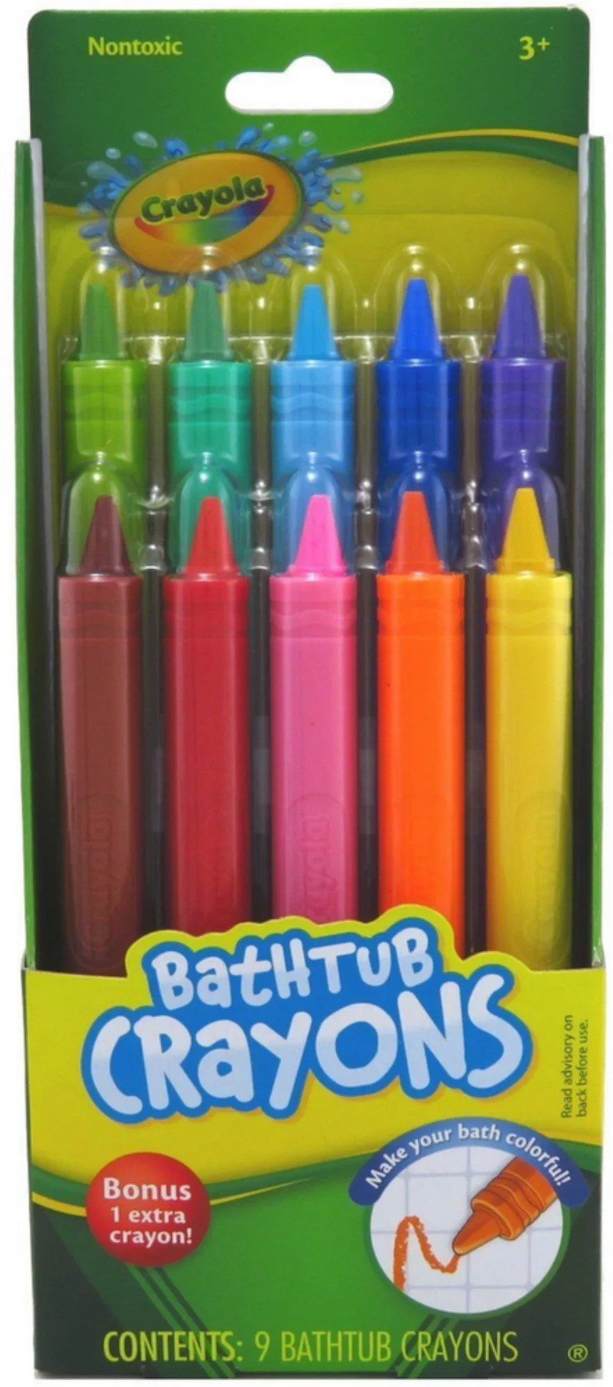 Crayola Bathtub Crayons Assorted Colors 9 Count Pack Of