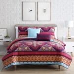 Full Xl Dorm Boho Medallion 5 Piece Quilt Bedspread Coverlet Set With Matching Sham And Throw Pillows Red Purple Yellow Walmart Com Walmart Com