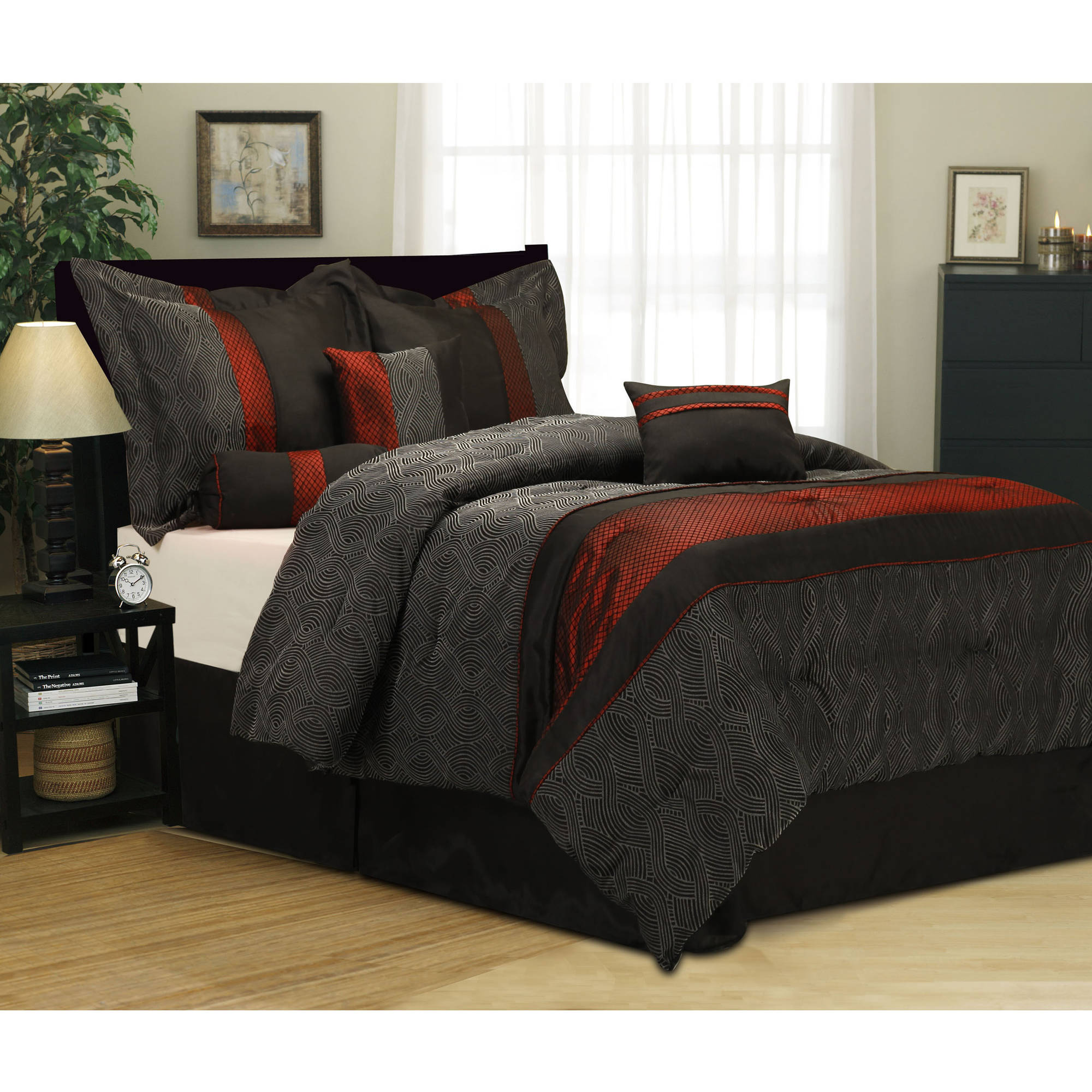 details about 7 piece bedding comforter set queen size black red shams pillows bedskirt room