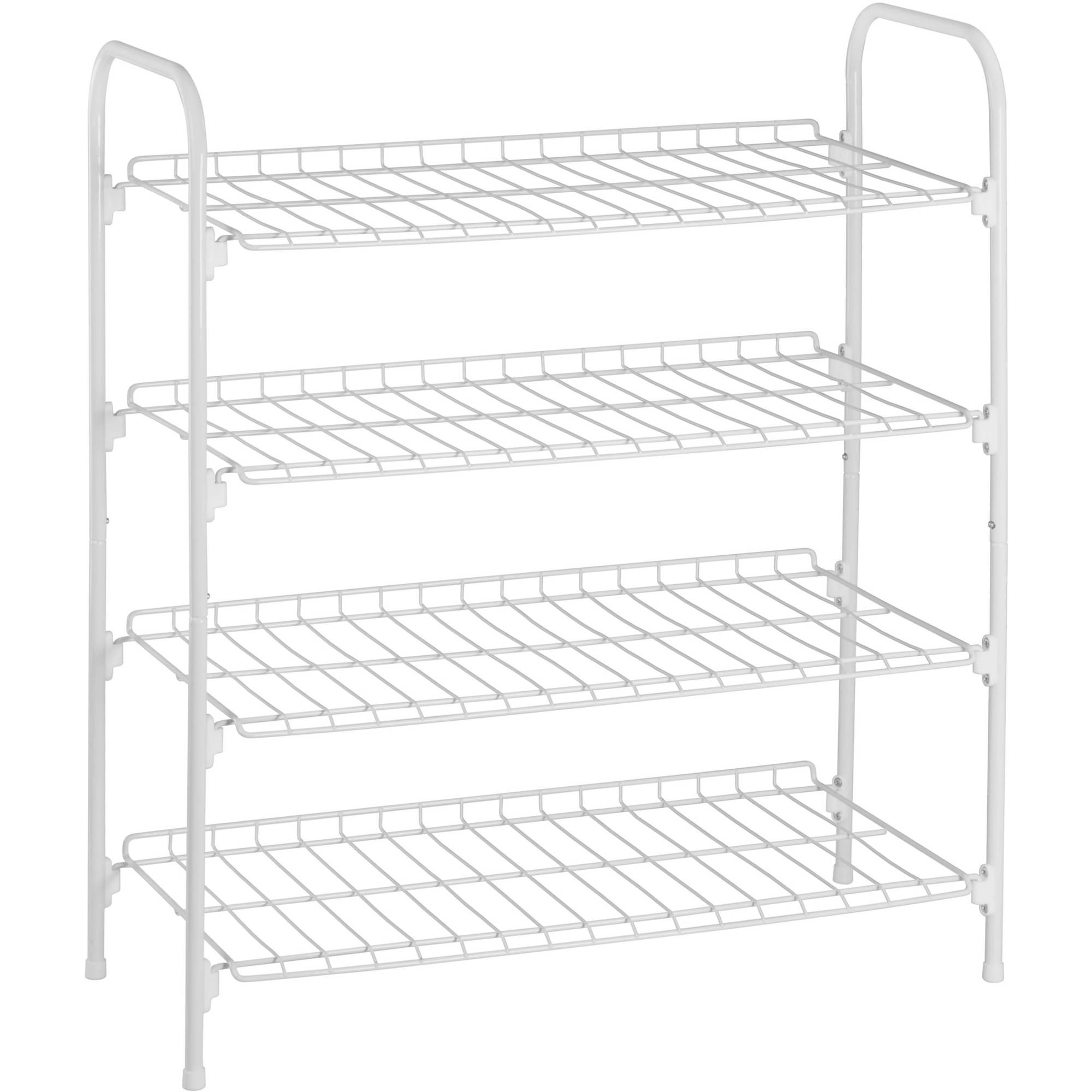 Shoe Rack Accessory Shelf 4 Tier Metal Closet Storage Organizer Stackable White