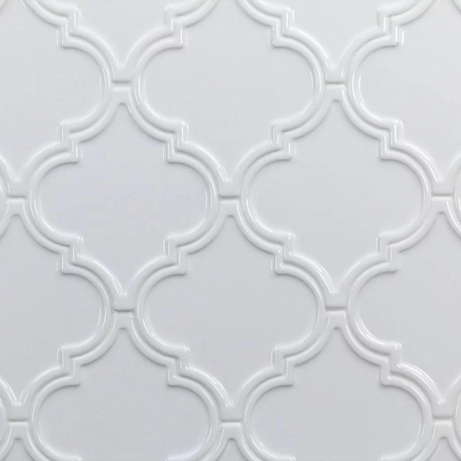 bond tile roma white 6 25 in x 7 25 in ceramic arabesque wall tile 30 pieces 4 84 sq ft box walmart com