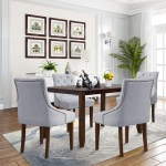 Modern Dining Chairs With Armrest Set Of 4 Tufted Upholstered Dining Chairs With Nailhead Trim Solid Wood Legs Fabric Dining Room Chairs Classic Accent Chair For Living Room Bedroom Gray W12143 Walmart Com