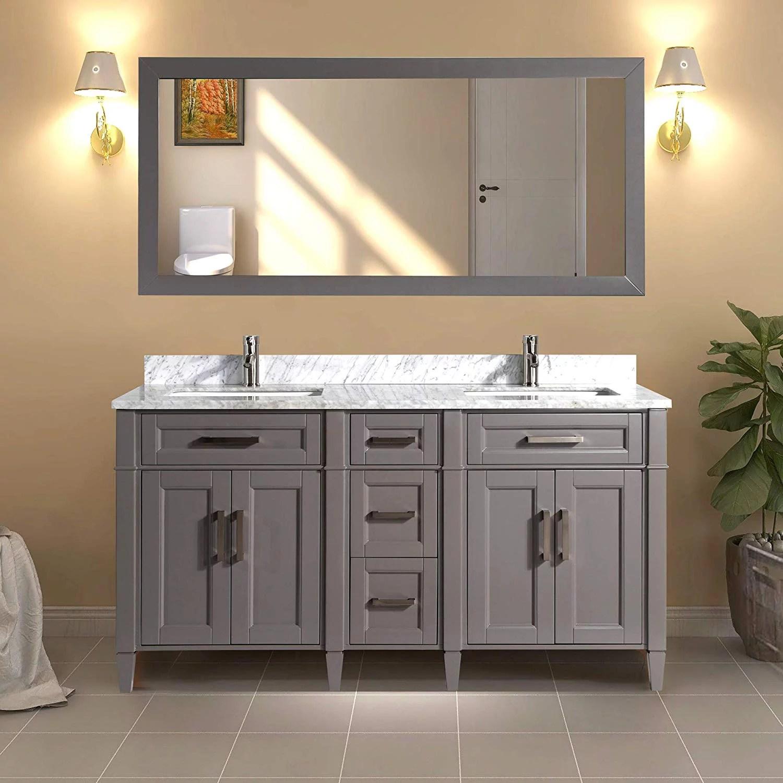 vanity art 60 double sink bathroom vanity combo set 5 drawers 2 shelves carrara marble stone top under sink cabinet with mirror walmart com