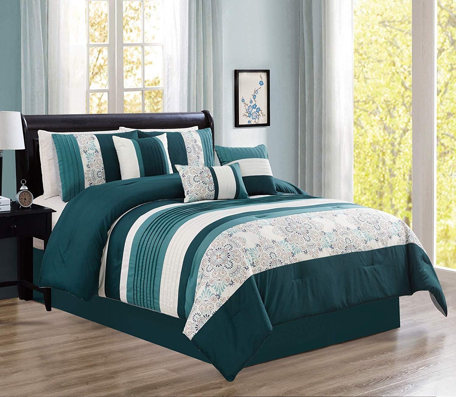 hgmart bedding comforter set bed in a bag 7 piece modern microfiber bedding sets oversized bedroom comforters with accent pillows cal king size
