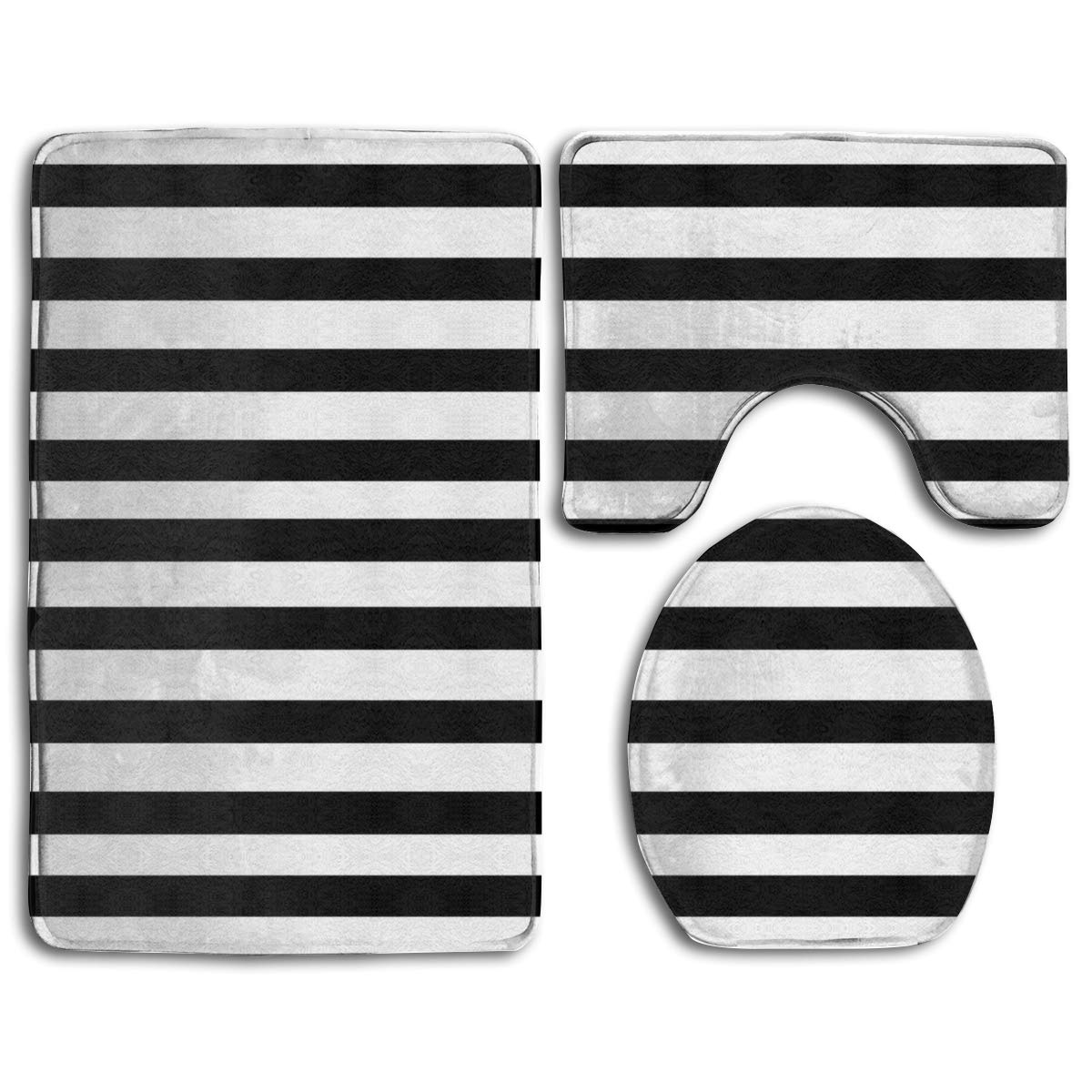 Gohao Black And White Mosaic Vertical Stripes 3 Piece Bathroom Rugs Set Bath Rug Contour Mat And Toilet Lid Cover Walmart Com Walmart Com