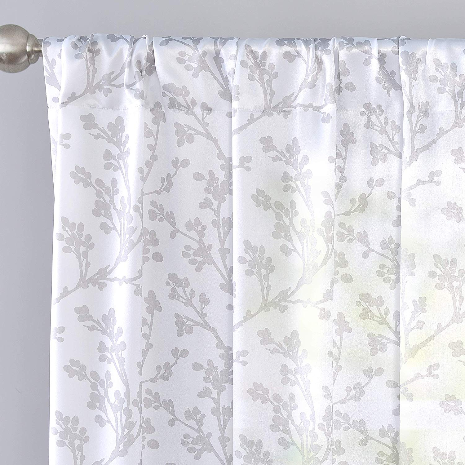 driftaway sarah floral tree branch pattern sheer voile window curtain rod pocket 2 panels 52 inch by 84 inch gray