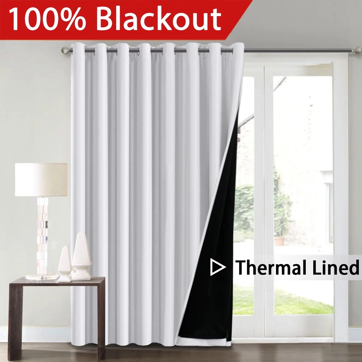 flamingop full blackout white wide patio door curtains faux silk satin with black liner thermal insulated room divider window treatment panels
