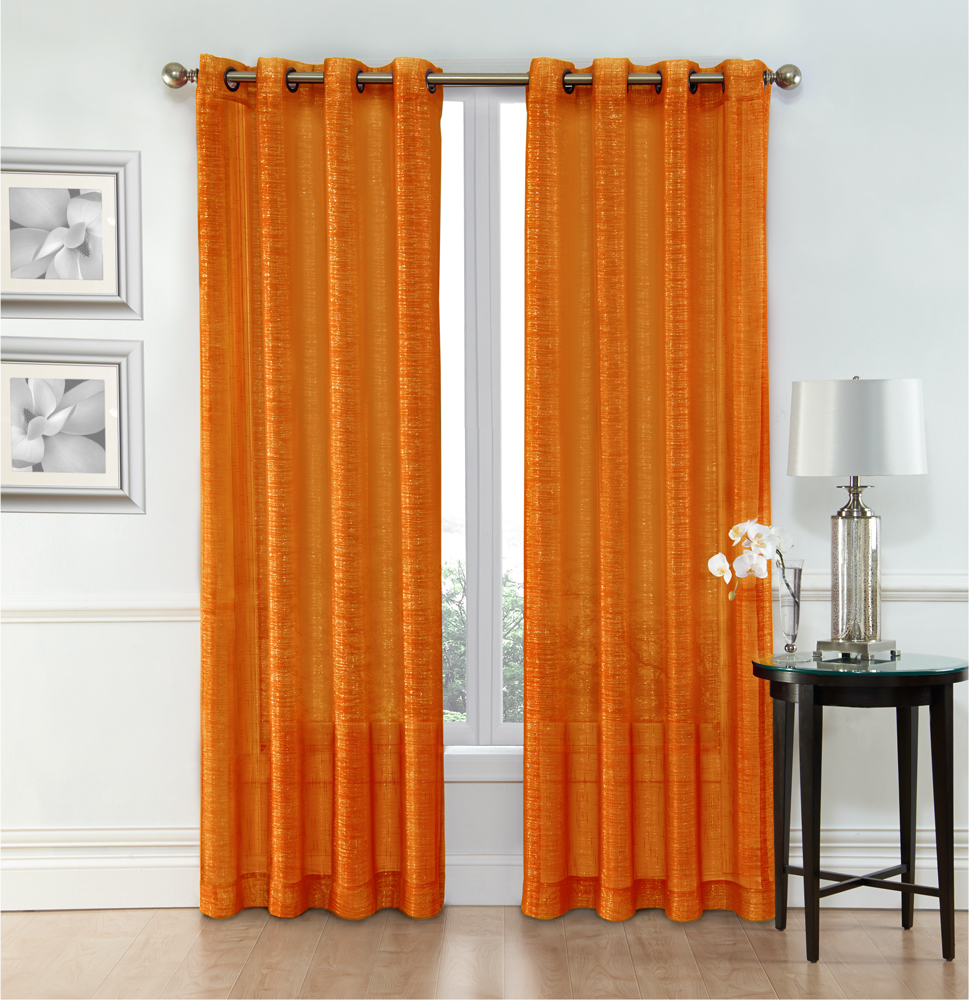 ruthy s textile orange sheer curtains 2 x 54 x 84 panels rod pocket top voile drapes for bedroom living room or dining room windows