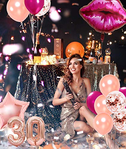 30th Birthday Decorations For Women Rose Gold Happy 30th Birthday For Her 30 Party Supplies Dirty 30 Balloons Sash Cake Topper Walmart Com Walmart Com