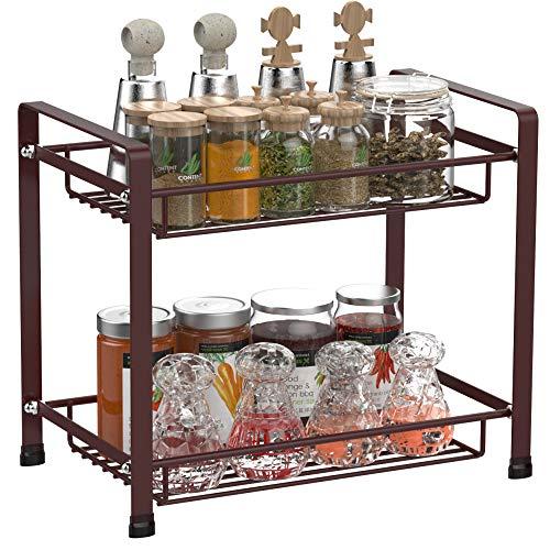 spice rack ace teah 2 tier spice organizer kitchen bathroom countertop storage organizer seasoning shelf holder bronze