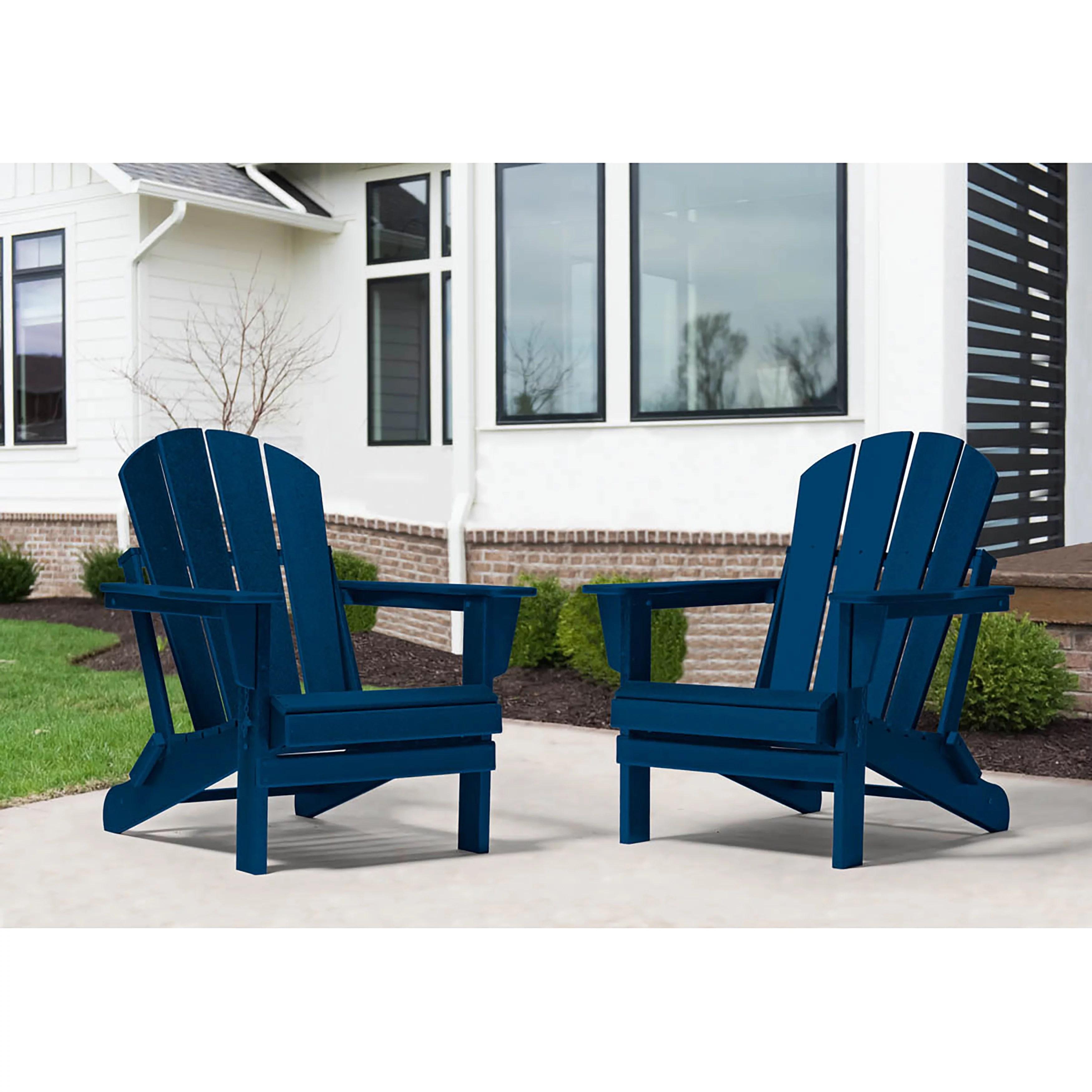 westin outdoor braxton folding plastic adirondack chair set of 2 navy blue