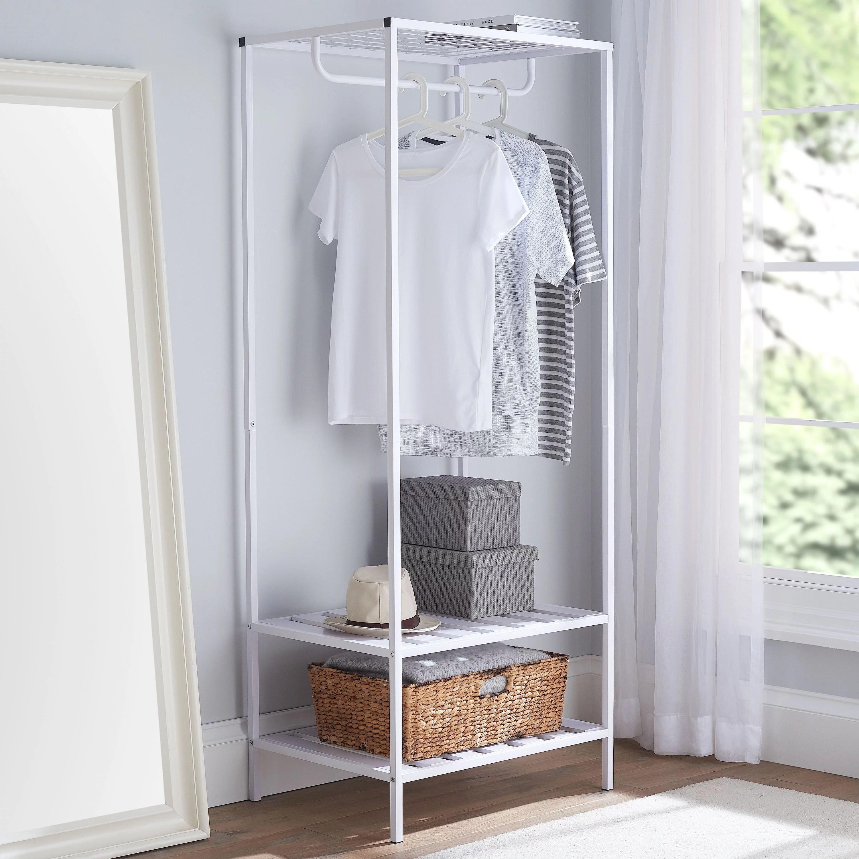 mainstays modern farmhouse slim garment rack white 26 77x20x67 71inh walmart com