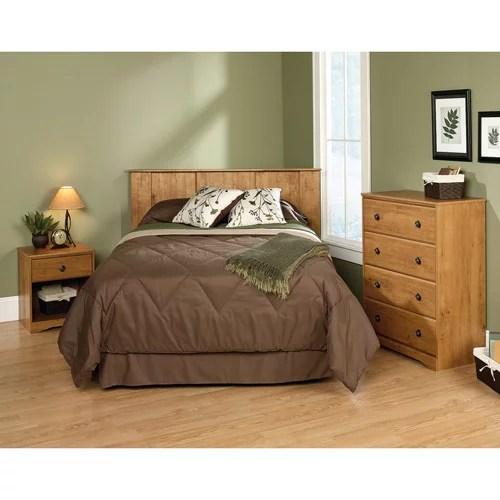 sauder full queen 3 piece bedroom in a box set amber pine