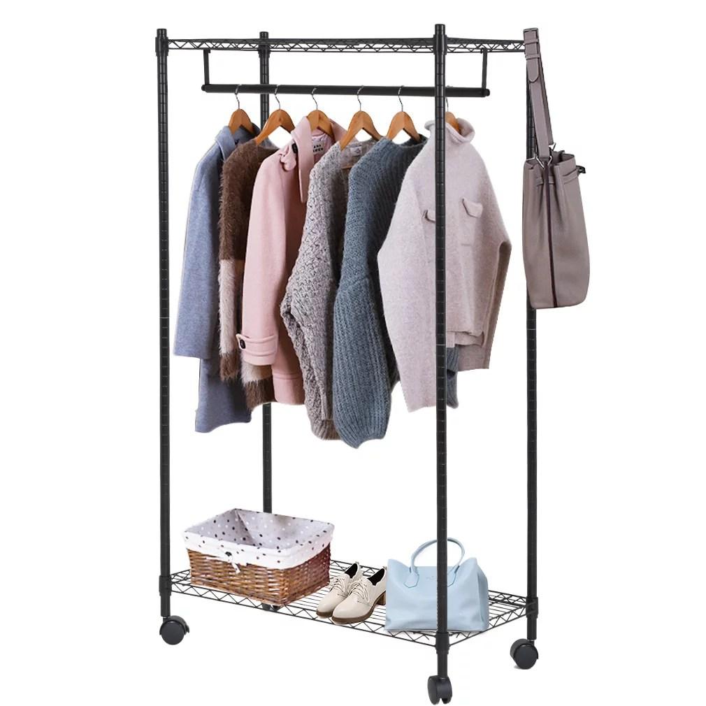 heavy duty clothes rack hanging rod garment rack with wheels hanging clothing rack with top and bottom shelves rolling metal height adjustable