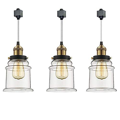 kiven set of 3 h type track lighting pendants with clear glass shade and led bulbs