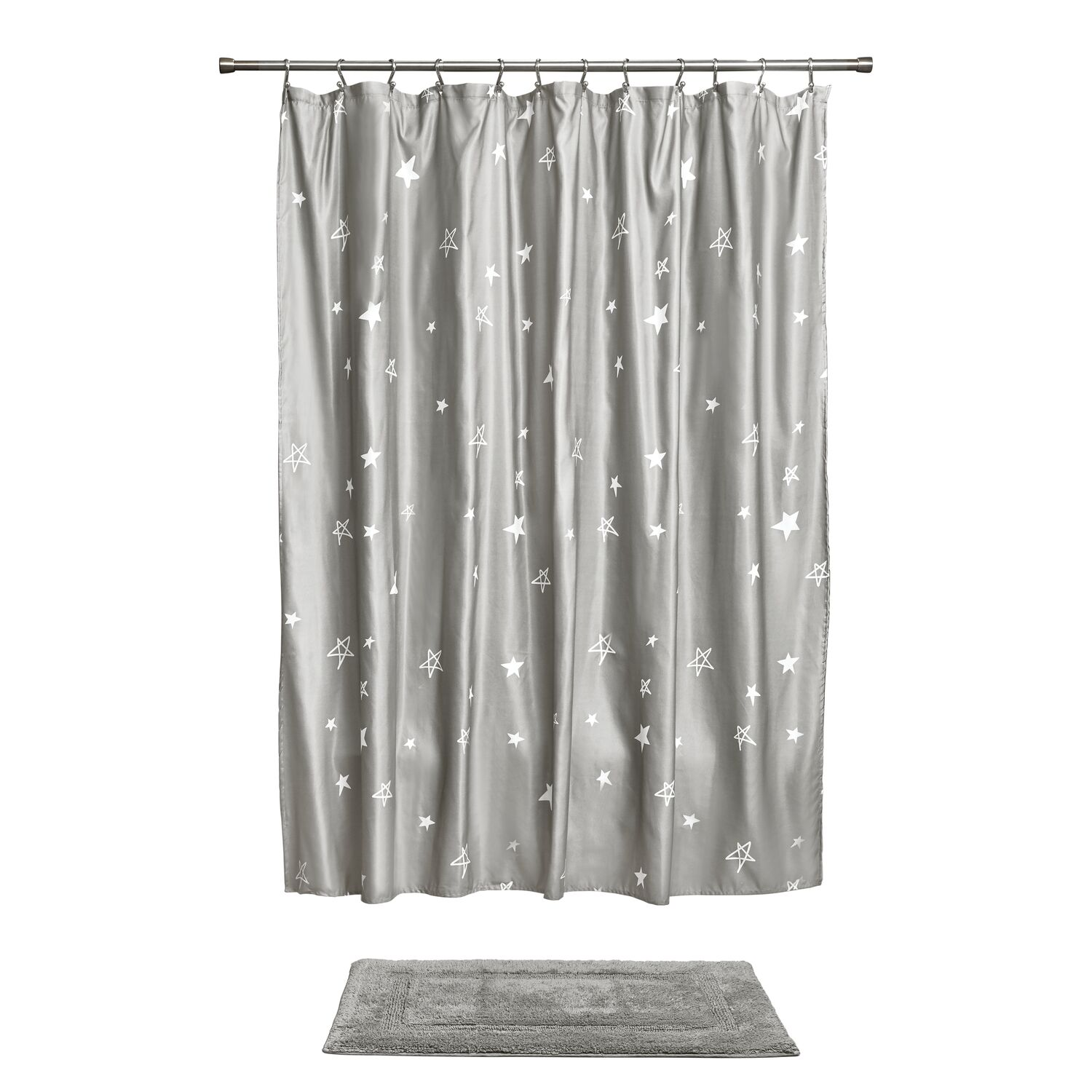 Idesign Star Shower Curtain And Rug 2 Piece Combo Set Gray