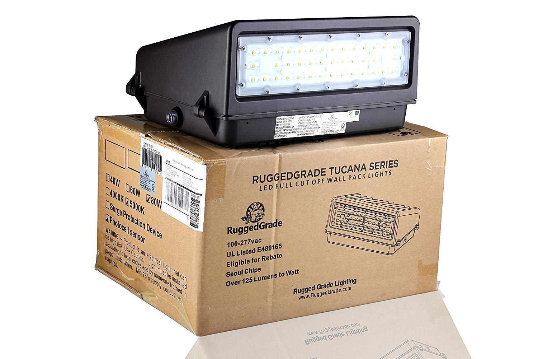 40 watt led wall pack light tucana series full cut off 5 200 lumens with dusk to dawn photocell 5000k replaces 150watt hid 100 000 hour led