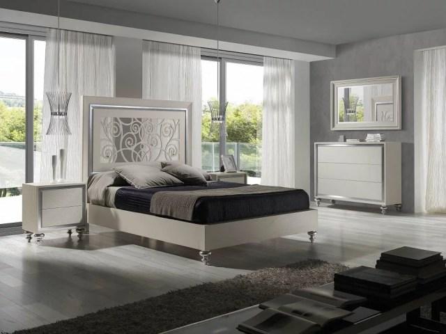 Modern White Finish Ornate Carved Headboard Queen Bedroom ...