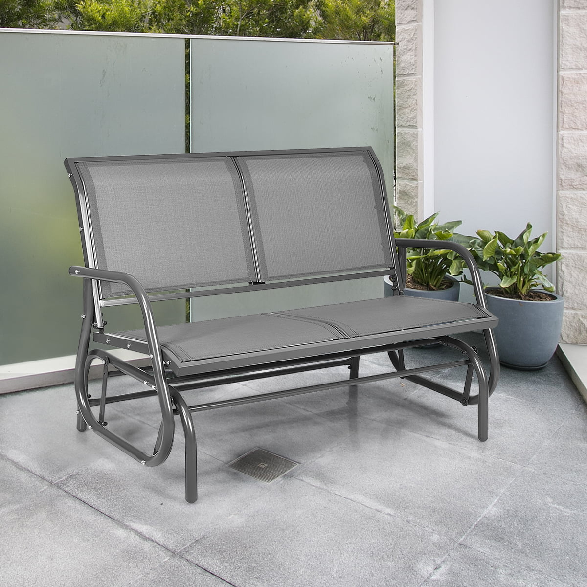 48 outdoor patio glider bench loveseat chaise rocking chair gray