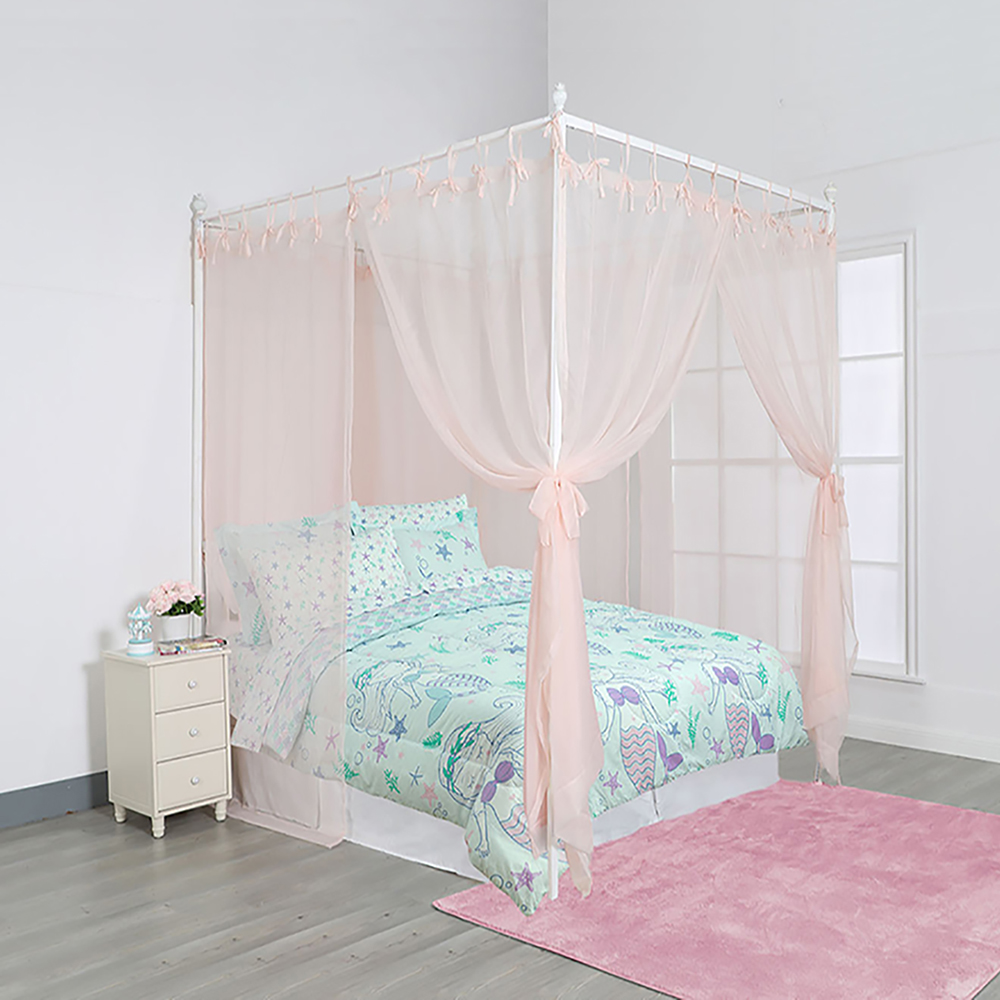 bed canopy white sheer panels complete 8 piece set with tie backs fits all size beds