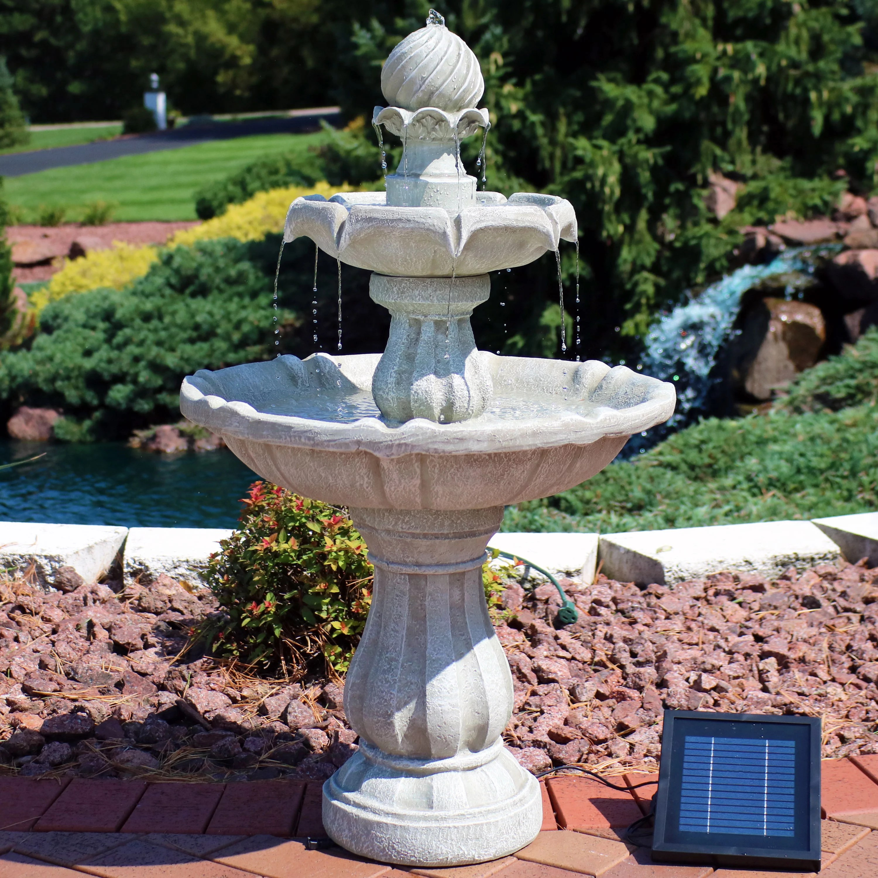 sunnydaze two tier solar outdoor fountain with battery backup garden and patio water feature with rechargeable solar battery multiple colors