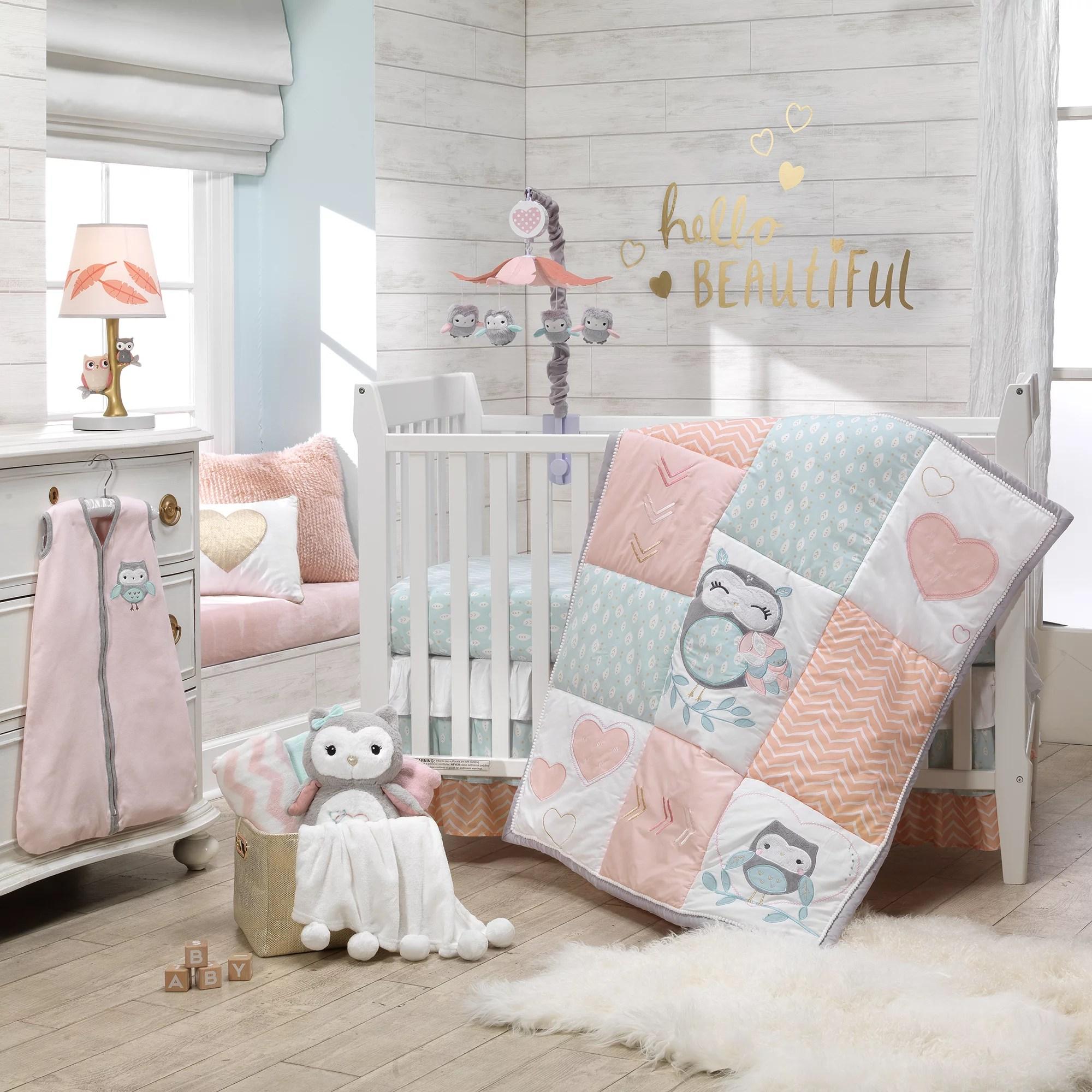 lambs ivy sweet owl dreams pink heart nursery 6 piece baby crib bedding set