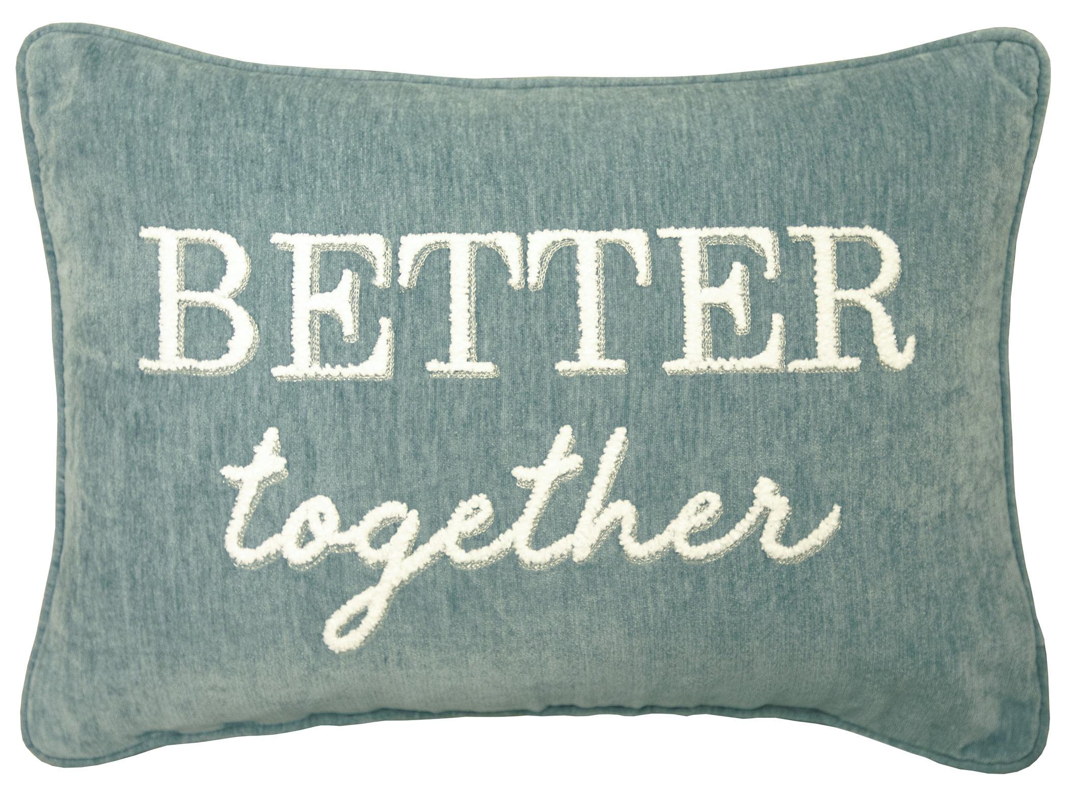 better homes gardens decorative throw pillow better together oblong aqua 14 x 20 1pack