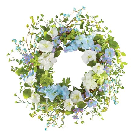 Blue & White Hydrangea Floral Door Wreath Decoration for Spring, Summer