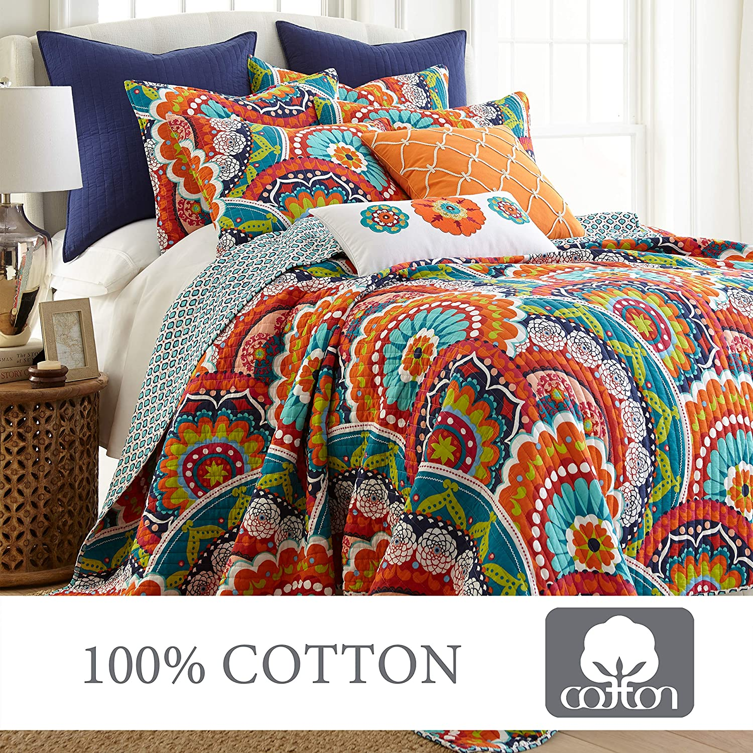 levtex home serendipity quilt set king quilt two king pillow shams boho floral in orange teal red blue quilt size 106x92in and pillow