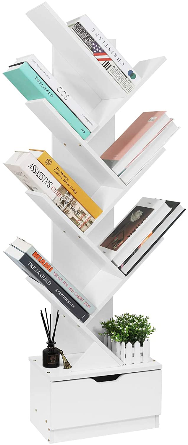 sheepam tree bookshelf with drawers 8 tier floor standing bookcase in living room home office wood storage rack shelves for