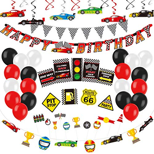 Decorlife Cars Party Decorations Race Car Birthday Party Supplies Happy Birthday Banner Balloons Checkered Flag Bunting Hanging Swirls Photo Booth Props Traffic Signs Racing Car Garland C Walmart Com Walmart Com