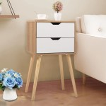 Jaxpety Mid Century Modern Nightstand Bedside Table Sofa End Table Bedroom Decor 2 Drawers Storage With Solid Wood Legs White Walmart Com Walmart Com