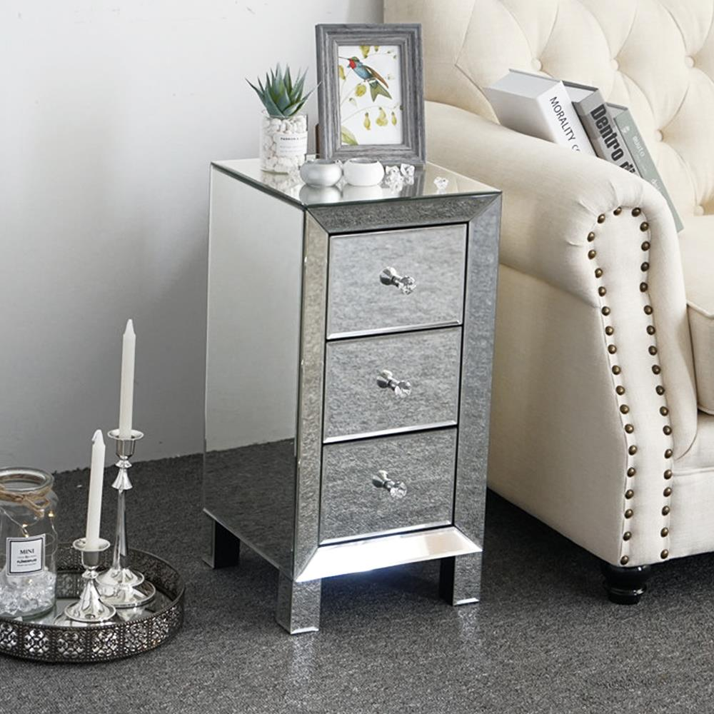 ktaxon contemporary regency glamour style mirrored 3 drawers nightstand bedside table hollywood