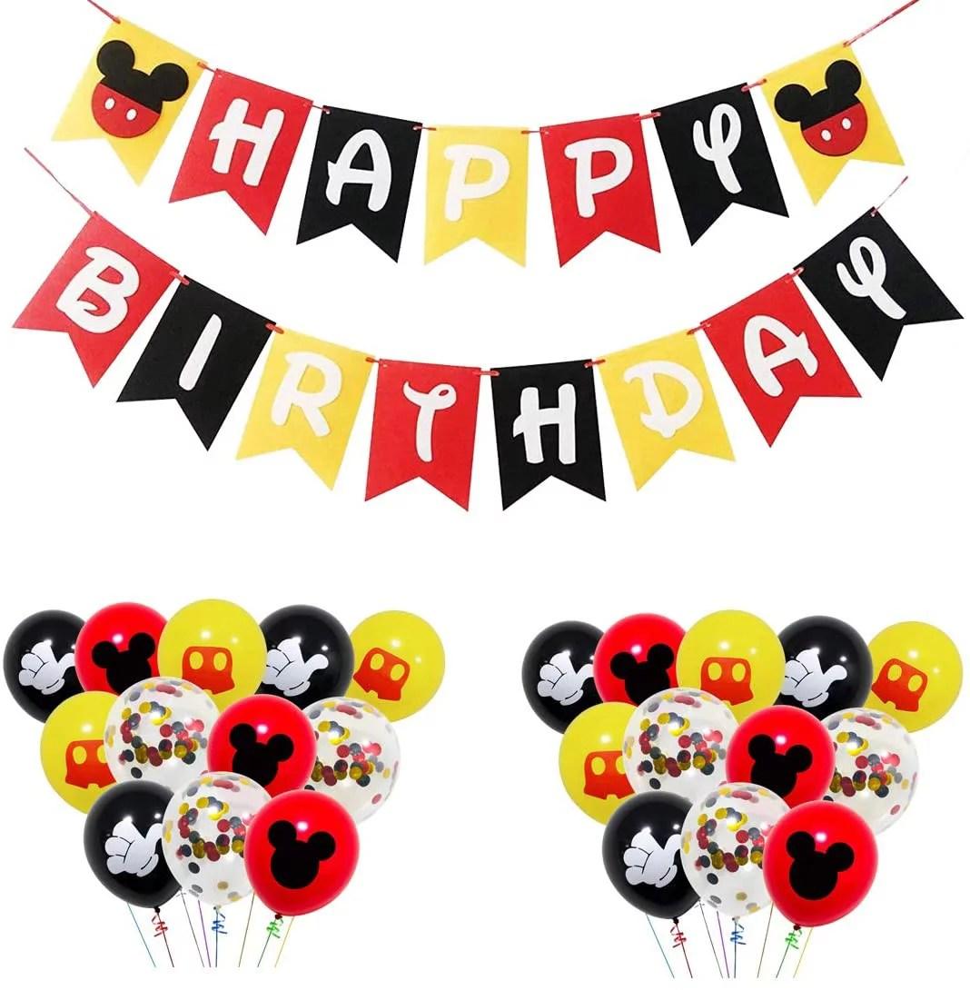 Mickey Mouse Birthday Party Decorations Mickey Happy Birthday Banner And 24 Pcs Mickey Theme Balloons Mickey Mouse Theme Party Supplies For Children S Birthday Party Walmart Com Walmart Com