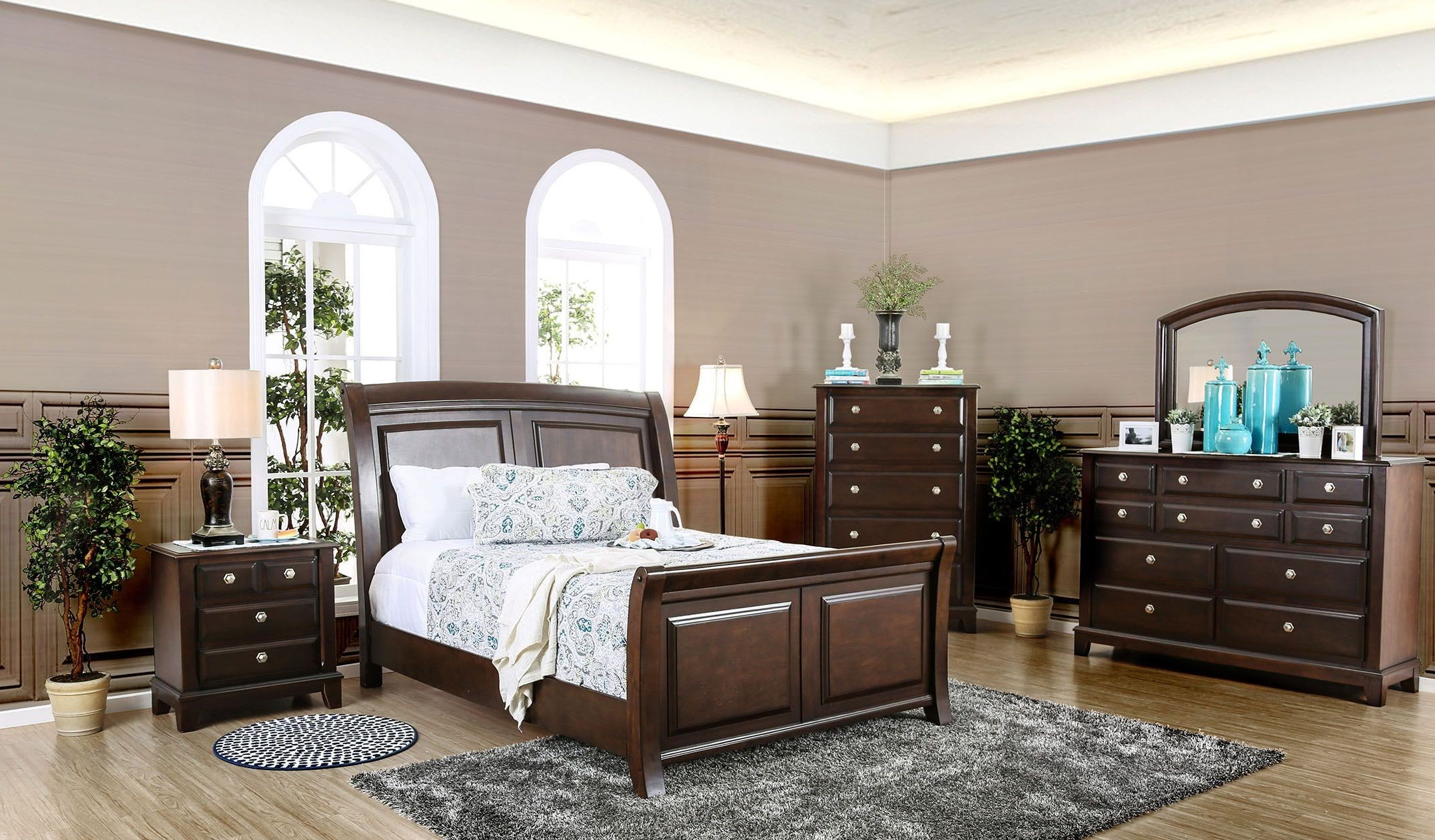 Contemporary Master Bedroom Furniture New Queen Size Sleigh Bed     Contemporary Master Bedroom Furniture New Queen Size Sleigh Bed Dresser  Mirror Nightstand 4pc Set Brown Cherry