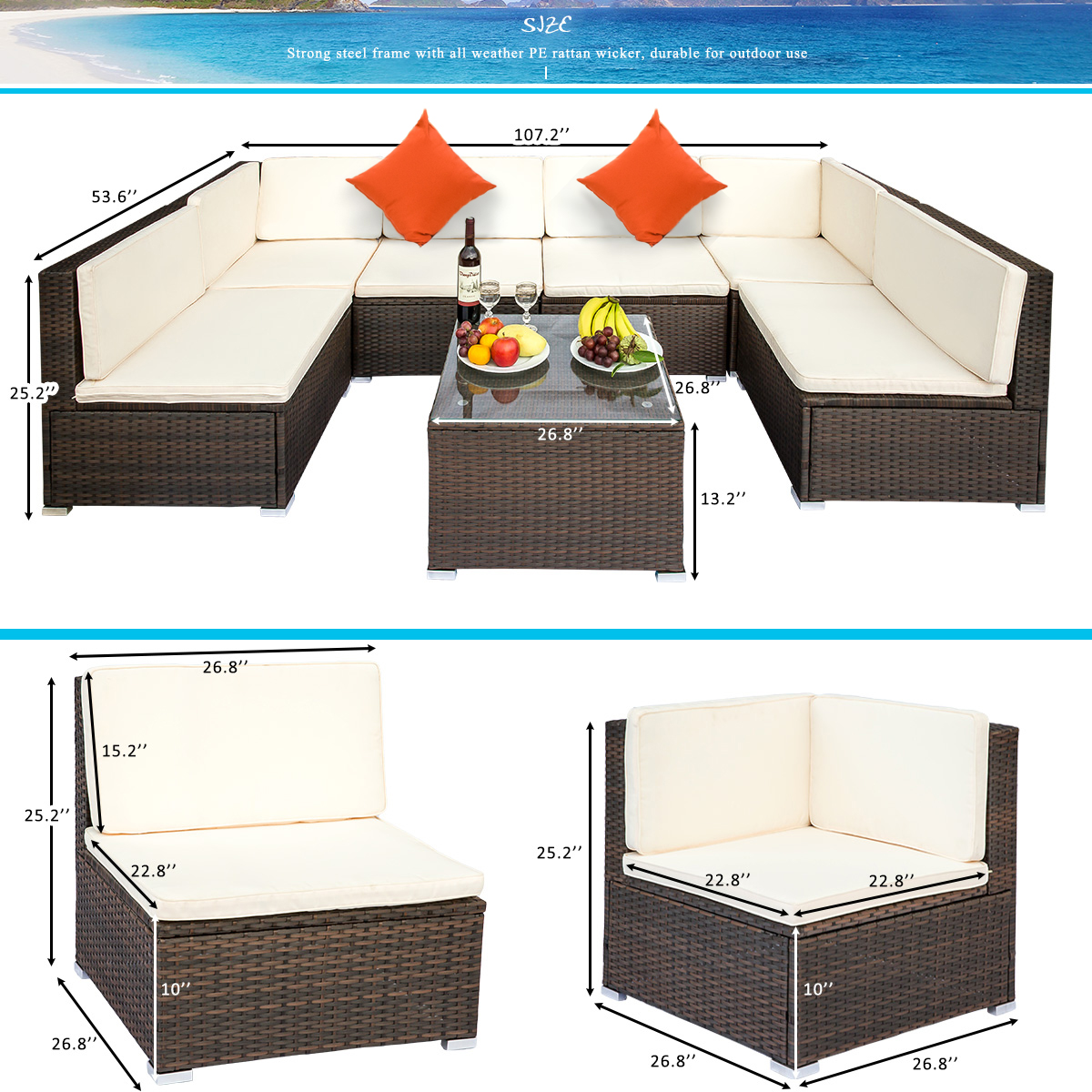 clearance patio table and chairs sets 7 piece wicker sofa patio conversation furniture set w 2 corner sofa tempered glass table 4 single sofa 12