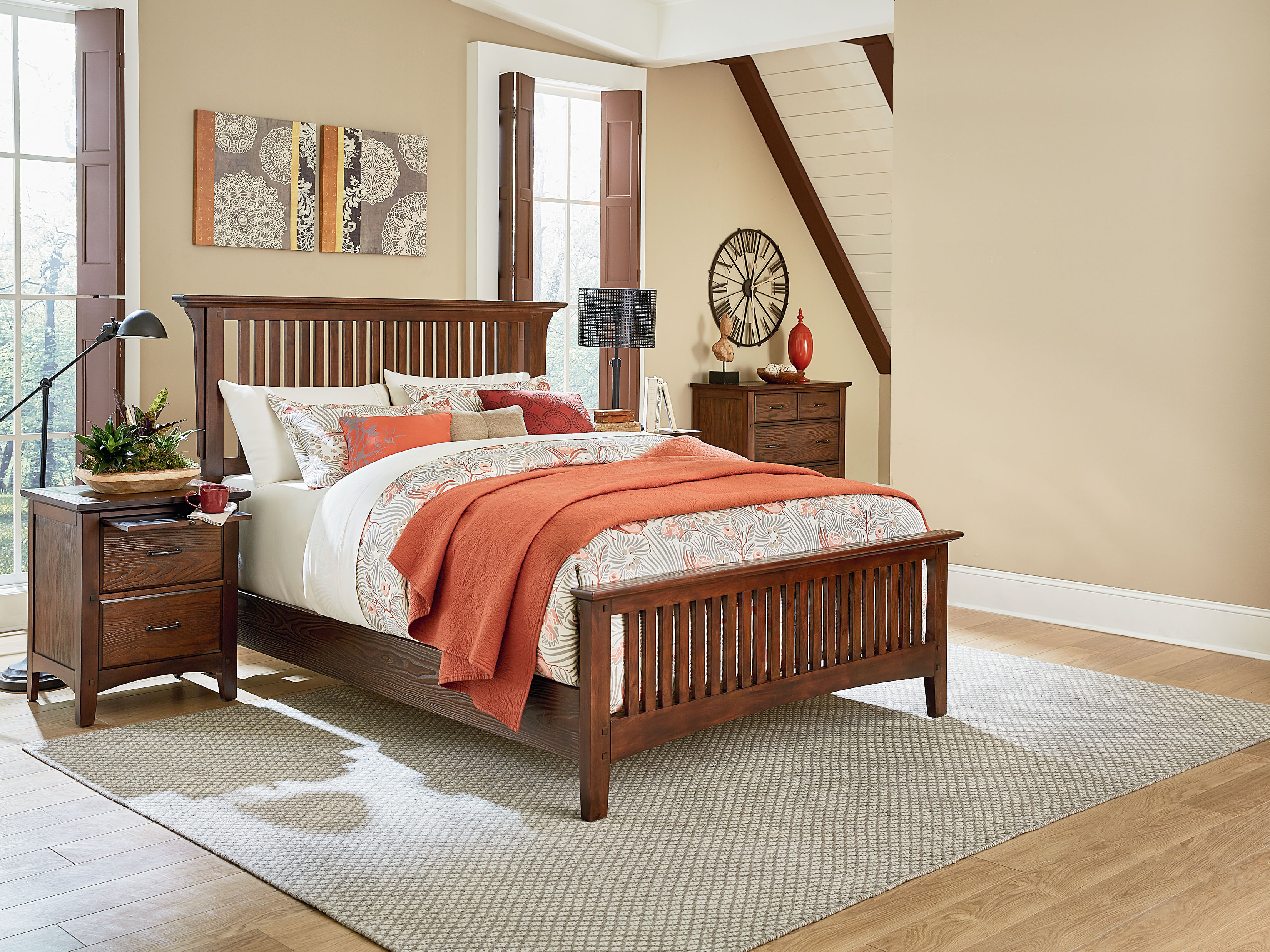 modern mission queen bedroom set with 2 nightstands and 1 chest
