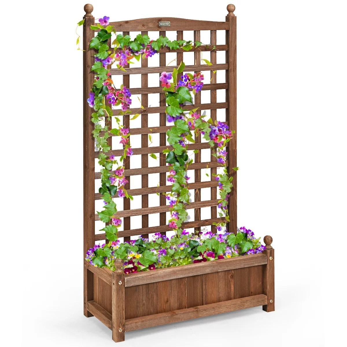 costway solid wood planter box with trellis weather resistant outdoor 25 x11 x48 walmart com