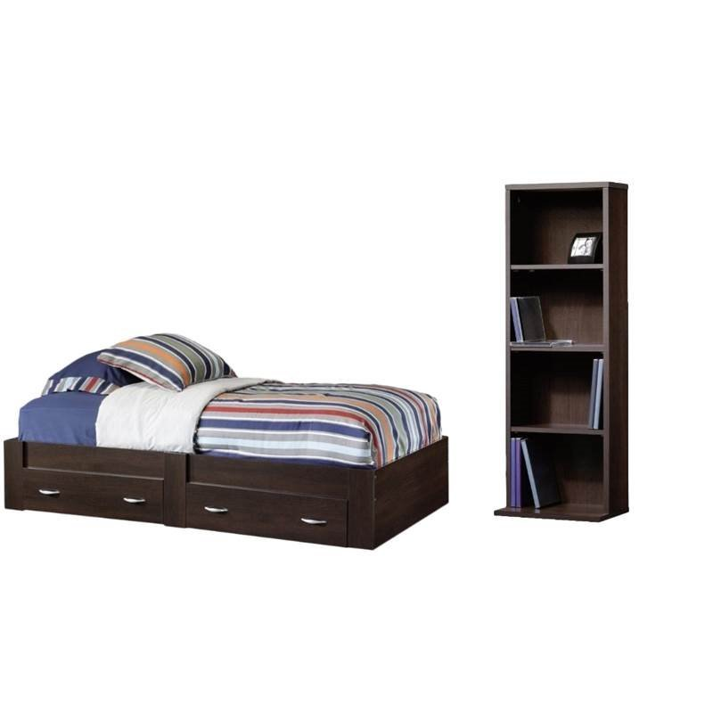 2 piece kids bedroom set with twin platform bed and bookcase in cinnamon cherry