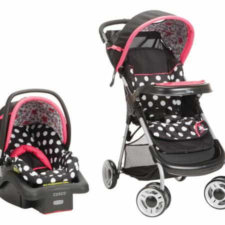 Disney Baby Minnie Mouse Lift & Stroll Plus Travel System, Minnie Coral Flowers