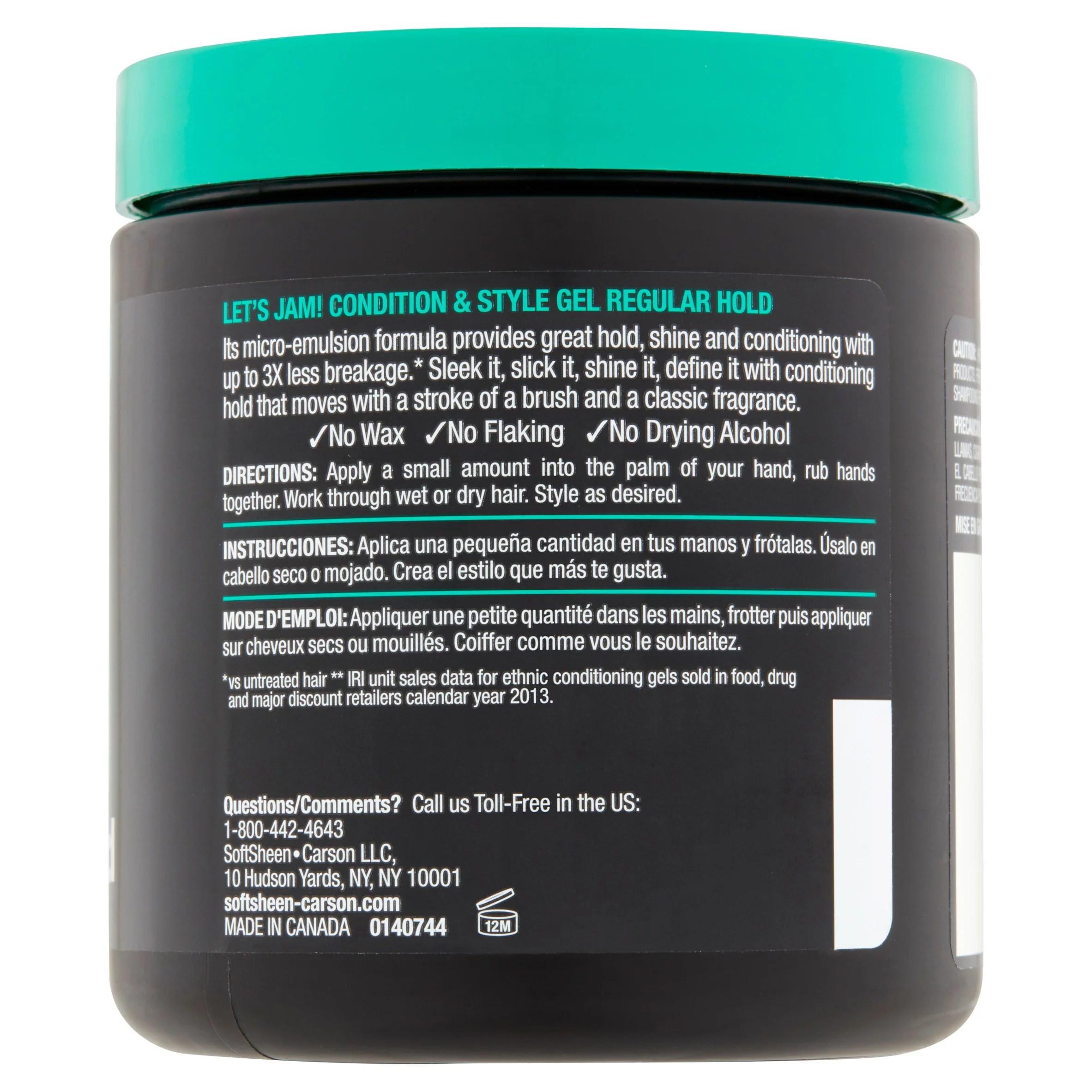 softsheen carson let s jam shining and conditioning gel regular hold walmart com