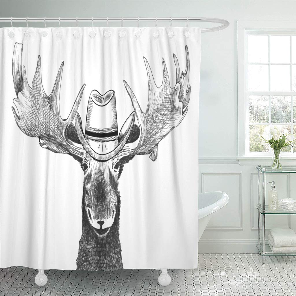 ksadk accessories moose with cowboy hat funny country western animal antlers black shower curtain bathroom curtain 66x72 inch walmart com