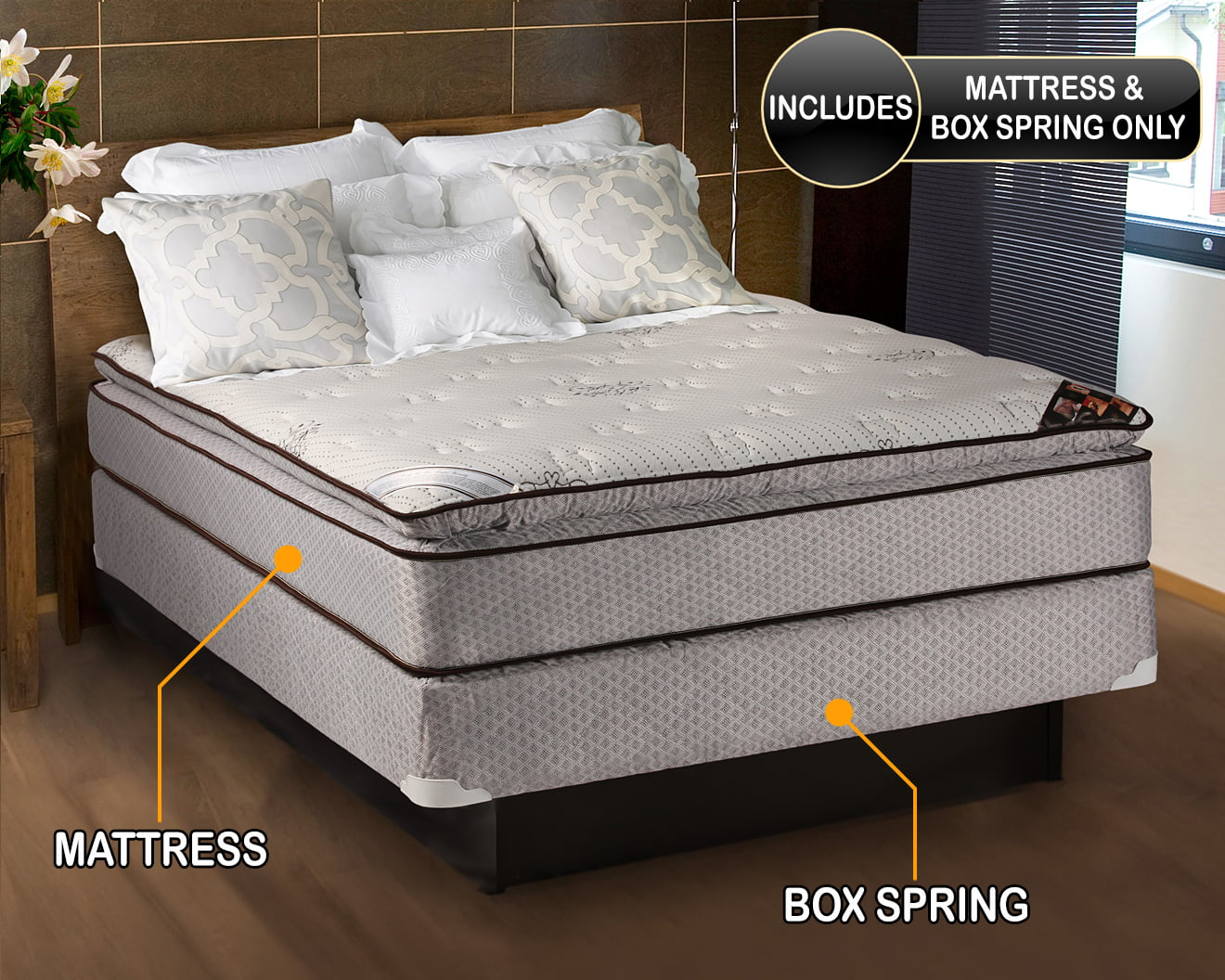 spinal dream plush pillow top eurotop mattress and box spring set queen size sleep system with enhanced cushion support fully assembled great