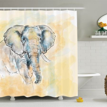 elephants decor shower curtain set, elephant watercolor style