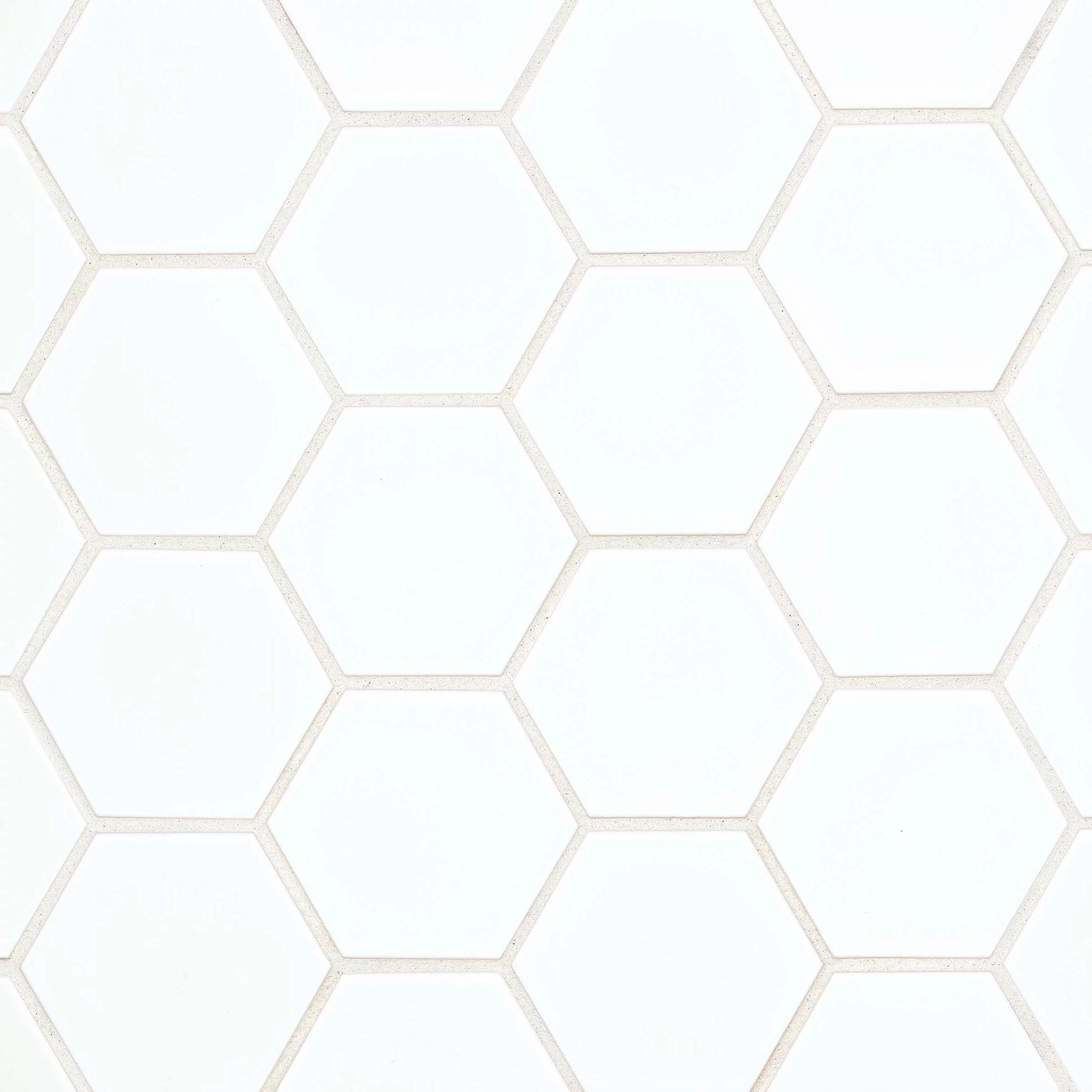 hedron 4 x 5 flat hexagon wall tile in gloss white 5 38 sqft ctn walmart com