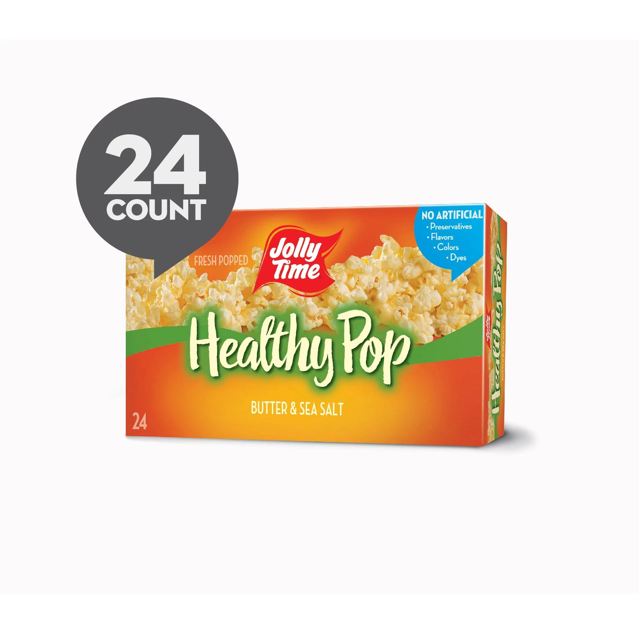 jolly time butter sea salt healthy pop microwave popcorn 3 oz 24 count walmart com